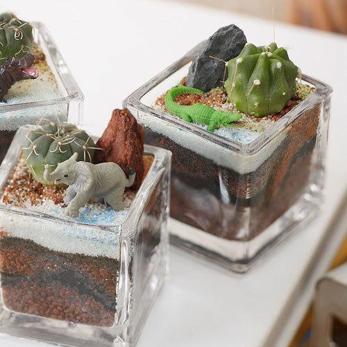 ちいさな植物と一緒に楽しむジオラマ「ナイルのゾウたち」ミニサイズ3個セット