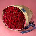 <日比谷花壇>100本の赤バラの花束「アニバーサリーローズ」画像