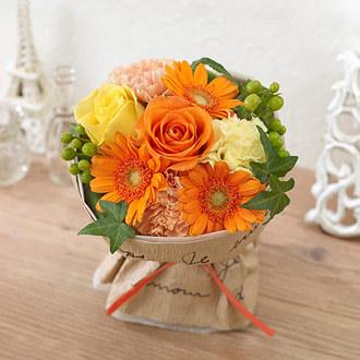 そのまま飾れるブーケ「フレッシュオレンジ」