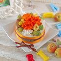 プリザーブド&アーティフィシャルアレンジメント「フラワーケーキオランジェ」