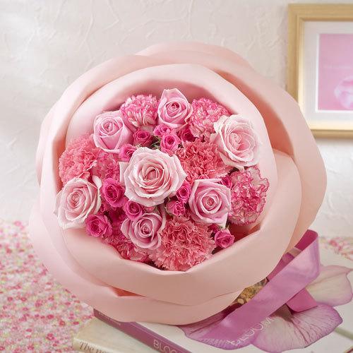 バラの形の花束ペタロ・ローザ「エレガントピンク」
