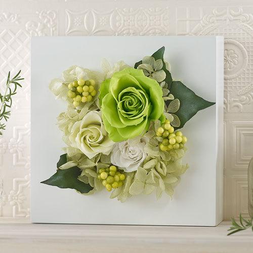 プリザーブド&アーティフィシャルアレンジメント「ローズブロッサム・グリーン」(ホワイト)