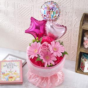 そのまま飾れるブーケ「Happy Birthday バルーン」【沖縄届不可】の商品画像