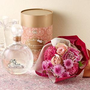 軸屋酒造「芋焼酎『リンプレシャス』」と花束のセットの商品画像
