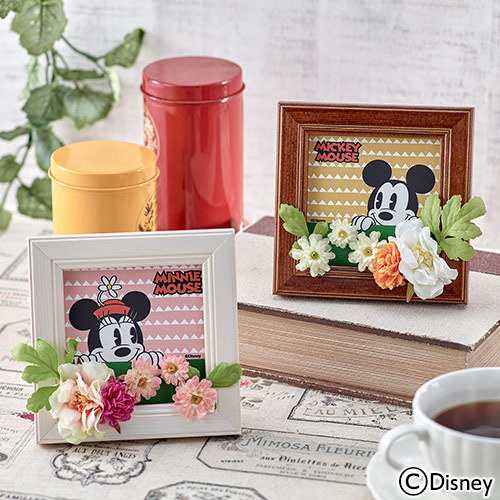 ディズニー ミニアートフレーム「ミッキー&ミニー フラワーガーデン」