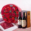 ハーフボトルワイン(DEEP&PURE)と赤いスプレーバラの花束