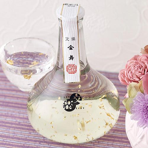 文楽「純米吟醸『金舞酒(金箔入)』」とプリザーブドフラワーのセット