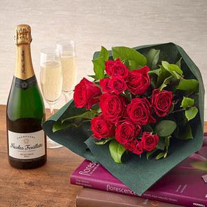 シャンパーニュと赤バラの花束セットの商品画像