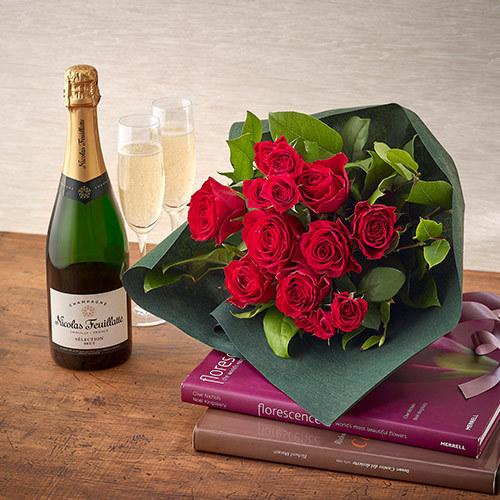 シャンパーニュと赤バラの花束セット