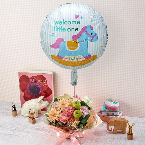 「welcome little one」バルーンとアレンジメント【沖縄届不可】