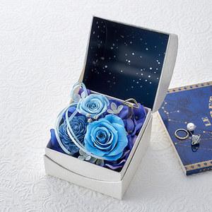 プリザーブド&アーティフィシャルアレンジメント「オルゴールフラワー(星に願いを)ブルー」の商品画像