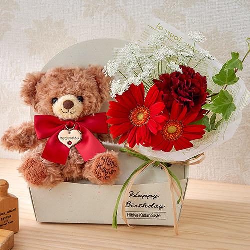 「1月のバースデーベア」と花束のセット