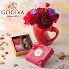ゴディバ バレンタイン限定「フェアリーケークアソートメント」とアレンジメントのセット