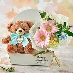 「3月のバースデーベア」と花束のセットの商品画像