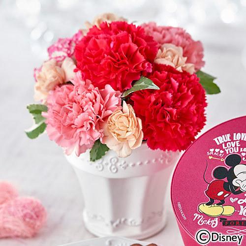 母の日 ディズニー「ミッキー&ミニー コージーコーナー スイーツギフトとアレンジメントのセット」