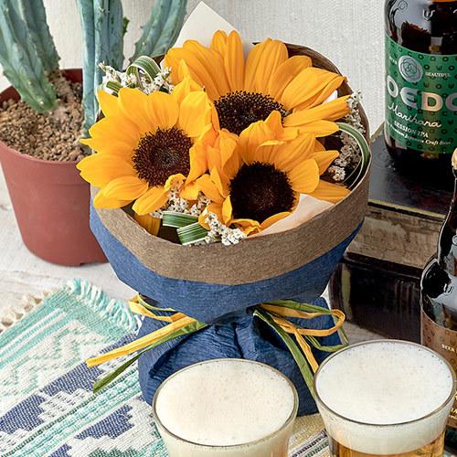 父の日 コエドビール「3種飲み比べセット」とそのまま飾れるブーケ