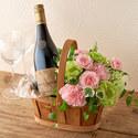 オーガニックワインとアレンジメントのセット