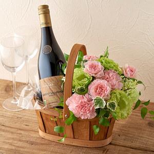 オーガニックワインとアレンジメントのセットの商品画像