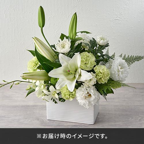 【お供え用】鳩居堂「お線香白鳩」とアレンジメントのセットL