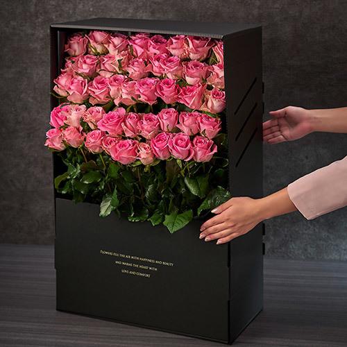 デザイナーズボックスフラワー「ローザ」(50本)