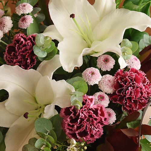 【お供え用】O・SO・NA・E flower 「11月のウッドボックスアレンジメント」