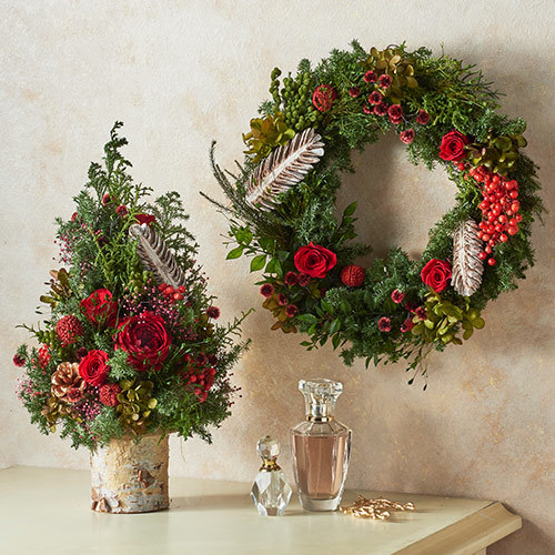 クリスマス プリザーブドリースとツリーのセット「ノエル ド ルージュ」
