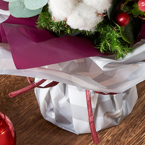 クリスマス そのまま飾れるブーケ「ソフルブラン」
