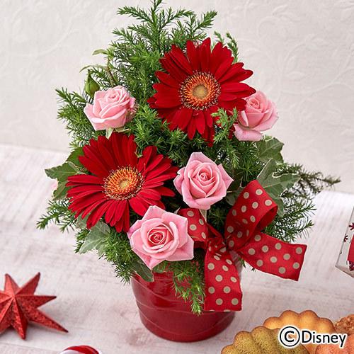 ディズニー クリスマス「銀座コージーコーナー スイーツギフトとアレンジメントのセット(ミッキー&ミニー) 」