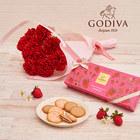 母の日 ゴディバ「あまおう苺クッキー アソートメント」と花束のセット