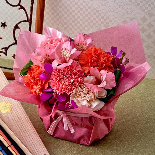 母の日父の日を一緒に贈るOEDO「桐箱入り ペアお箸」とアレンジメントのセット