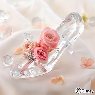 母の日 ディズニー プリザーブドアレンジメント「シンデレラの靴(ブリリアントピンク)」