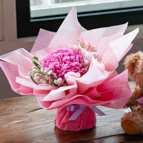 日比谷花壇オリジナルベア「ブラウニー」とブーケのセット