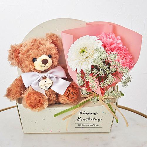 「4月のバースデーベア」と花束のセット
