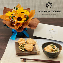 父の日 OCEAN&TERRE「お茶漬け最中セット」とそのまま飾れるブーケのセット