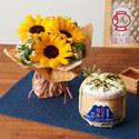 父の日 福光屋「特別純米 お父さん日本一 豆樽」とそのまま飾れるブーケのセット