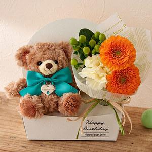 「5月のバースデーベア」と花束のセットの商品画像