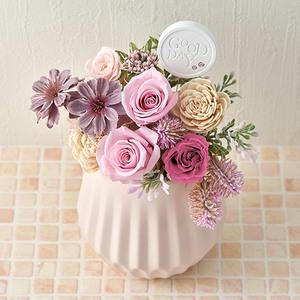 10月の誕生石モチーフプリザーブド&アーティフィシャルアレンジメント「ピンクオパール」の商品画像