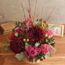 【お供え用】O・SO・NA・E flower 「12月のウッドボックスアレンジメント」
