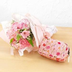 母の日 日比谷花壇「ポーチ」と花束のセットの商品画像
