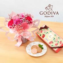 母の日 ゴディバ「あまおう苺クッキー アソートメント」とそのまま飾れるブーケのセット