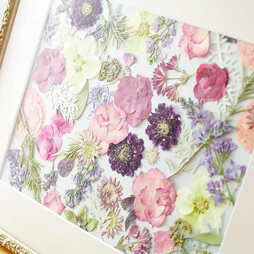 母の日 デザイナーズ押し花フレームアート 「ローズエレガンテ」