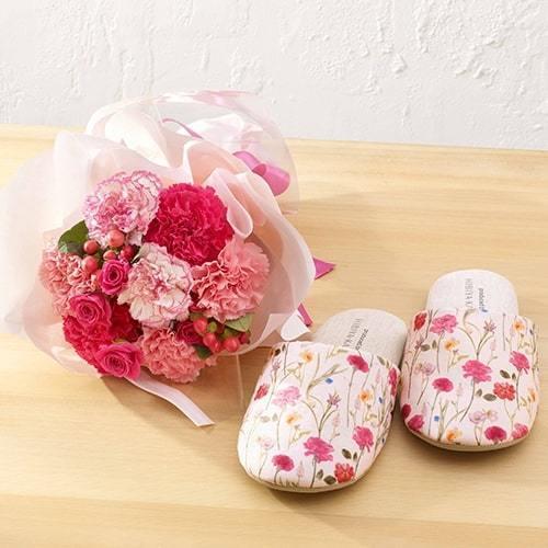 日比谷花壇「スリッパ」と花束のセット