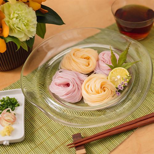 父の日 三輪そうめん小西「伝統手延三輪素麺(編色素麺)」とアレンジメントのセット