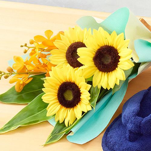 父の日 内野「サンダルスリッパ」と花束のセット