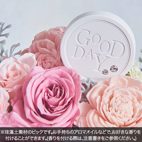 4月の誕生石モチーフプリザーブド&アーティフィシャルアレンジメント「ダイヤモンド」