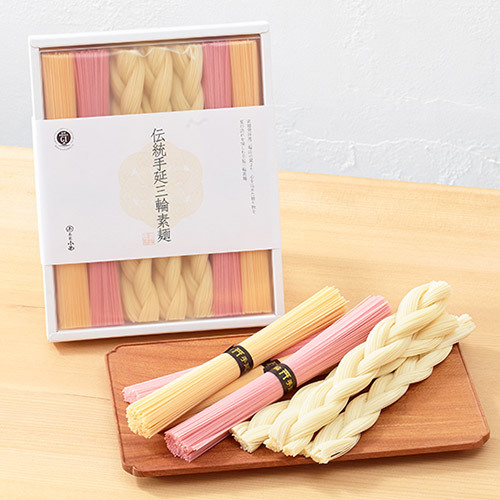 三輪そうめん小西「伝統手延三輪素麺(編色素麺)」とそのまま飾れるブーケのセット