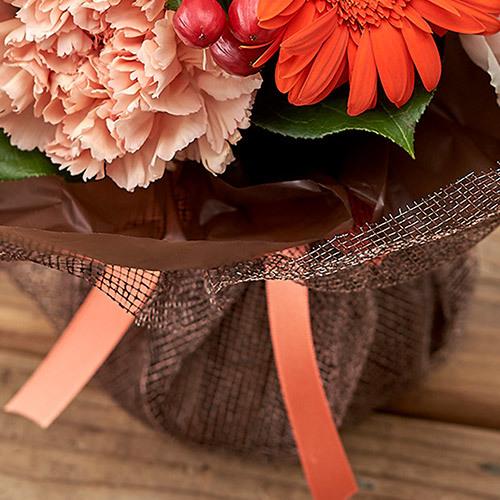 10月の旬の花 そのまま飾れるブーケ「シアーオレンジ」