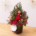 クリスマス プリザーブド&ドライフラワーツリー「ツリー ド ルージュ」
