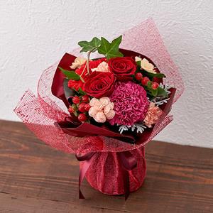 11月12月の旬の花 そのまま飾れるブーケ「ルージュ」